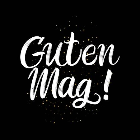 Guten Tag brush paint hand drawn lettering on black background with splashes. Greeting in german language design templates for greeting cards, overlays, posters Ilustração
