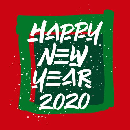 Happy New Year hand drawn brush lettering with splash on red and green background. Design lettering templates for greeting cards, overlays, posters Banco de Imagens - 135423791