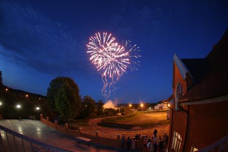wedding night: Fireworks at wedding night. blue sky. night