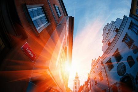 republik: Sunset over Carlovy Vary, Czech Republik. building street