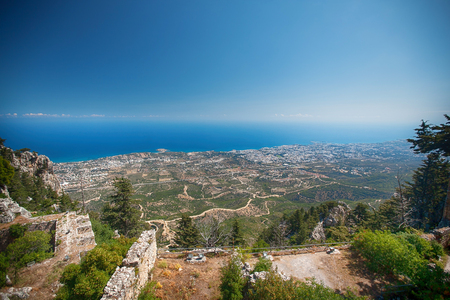 hilarion: Castle ruins Saint Hilarion Castle, Cyprus . summer rest. vacation, holiday. Holidays with the sea family
