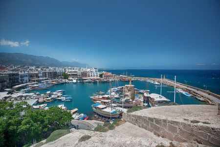 harbour of kyrenia with restorants and boats Girne,. North Cyprus Stockfoto