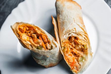 Turkish Shawarma durum Traditional sish kebab wrap and kofte meatball. Archivio Fotografico