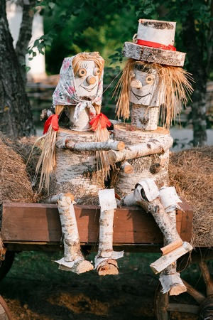 felled: A couple in love, woods, logs. handmade trees forest