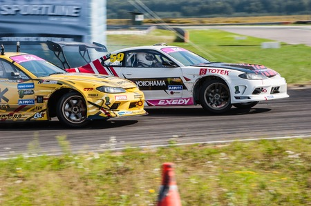 Nizhny Novgorod Russia Aug 20, 2016 : Russian Drift Series Stage 5 RDS Zapad West Chivchyan George Gocha vs Ekaterina Sedykh. Nissan Silvia S15.