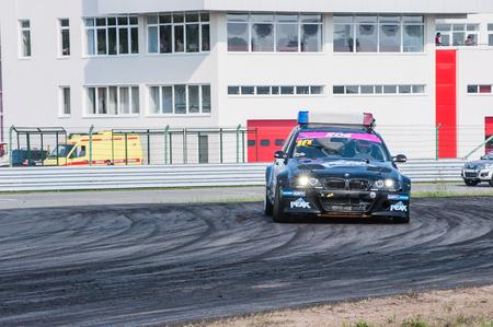 arkady: Nizhny Novgorod Russia Aug 20, 2016 : Russian Drift Series Stage 5 RDS Zapad West Puchinin Arkady. BMW E46 POLICE.