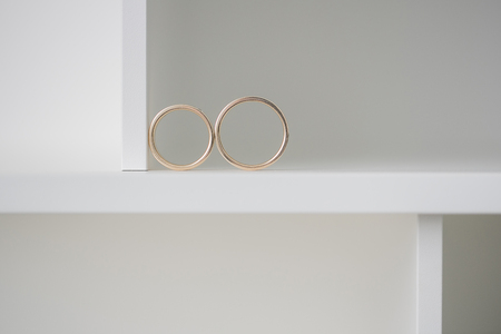 mr and mrs: Two wedding rings on a white background. Mr. and Mrs