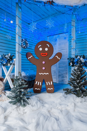Gingerbread Man conceptual photo for Christmas card background. Stock Photo