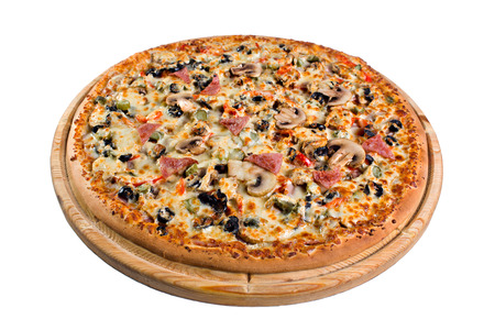 pizza with mushrooms on wooden board. for a directory or menu. Stock Photo