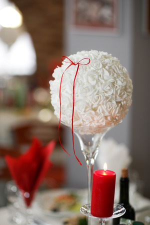 wedding decoration. Table set for an romantic dinner or wedding reception