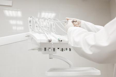 Closeup of a modern dentist tools, burnishers. doctor checks