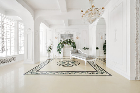 Luxurious vintage interior with fireplace in the aristocratic style