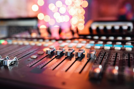 adjuster: od adjusters and red buttons of a mixing console. It is used for audio signals modifications to achieve the desired output. Applied in recording studios, broadcasting, television.