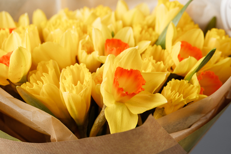 yellow narcissus. Spring Flower on retro table. Stylish office. Place for entries. Place for the inscription. Bouquet flowers in a vase.