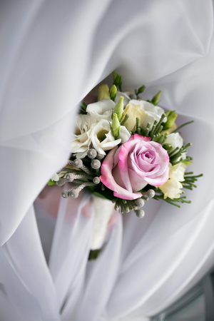 luxury Wedding bouquet. The concept of marriage and love. accessories for just married ceremony close-up. Fresh flowers