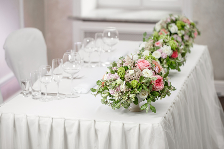 formal dinner party: table setting, festive tables ready for guests.