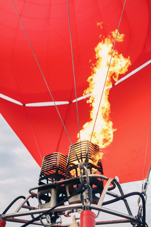 A Hot Air Balloon burners in operation 版權商用圖片