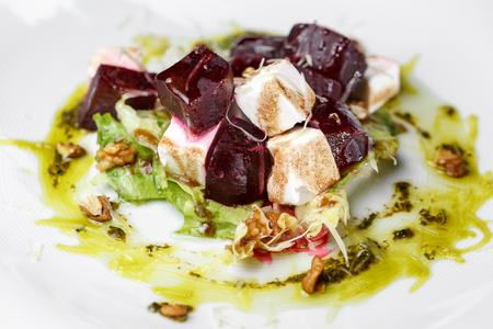 Beetroot salad with feta and olive oil Stock Photo
