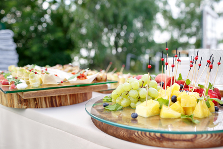 dulcet: professional catering. Canape with fresh fruits. Festive food.