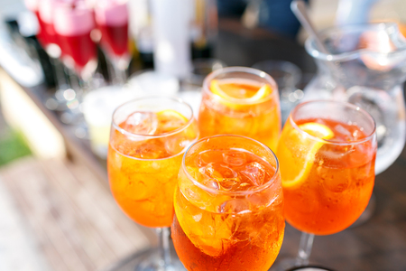 spritz: professional catering. Canape with fresh fruits. Festive food.