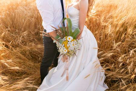Hands of the bride and groom over the wheat field. Fairytale romantic couple of newlyweds hugging at sunset Stock Photo