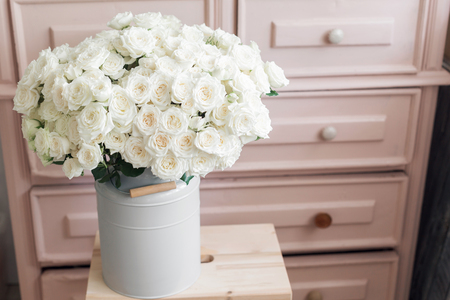 Stock Photo   Vintage Interior Decoration Pink Pastel Closet White Roses In  Metal Bucket.
