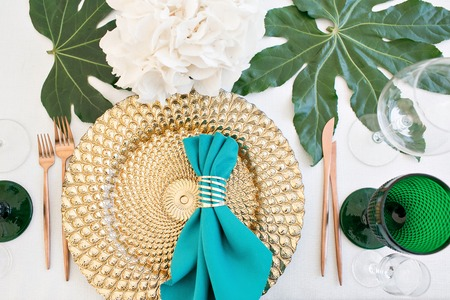 Beautifully organized event - served festive tables ready for guests Stock Photo