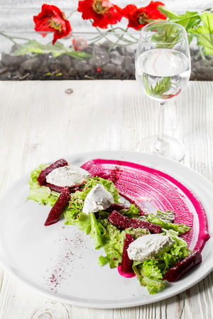 olive green: Roasted Beet Salad with Feta and Celery. Appetizer Recipe.