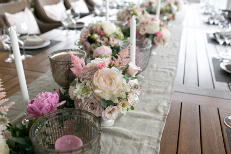 Luxury, elegant wedding reception table arrangement, floral centerpiece