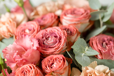 Flower composition on a gray background. Wedding and Festive decor. Powdery pink color. copy space. closeup Stock Photo