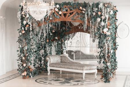photographic studio with modern lighting equipment. Light spring room studio interior. Luxury decor with daylight. Stock Photo