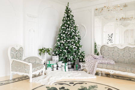 classic apartments with a white fireplace, decorated tree, bright sofa, large windows. Christmas morning.