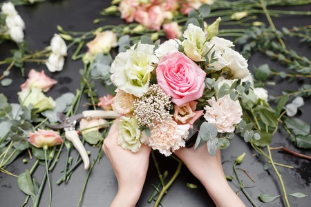 Master class on making bouquets. Spring bouquet. Learning flower arranging, making beautiful bouquets with your own hands