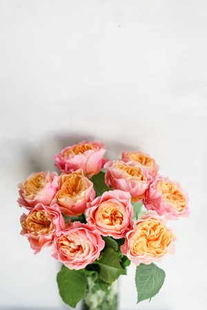 Beautiful Roses Flowers In A Vase On A Table Bouquet Of Pink