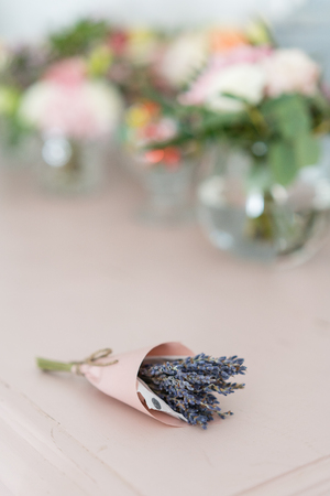 beautiful mini bouquet lavender on table . dried flowers lilac color Stock Photo