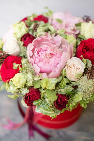 Beautiful spring bouquet in head box arrangement with mix flowers beautiful spring bouquet in head box arrangement with mix flowers the concept of a mightylinksfo