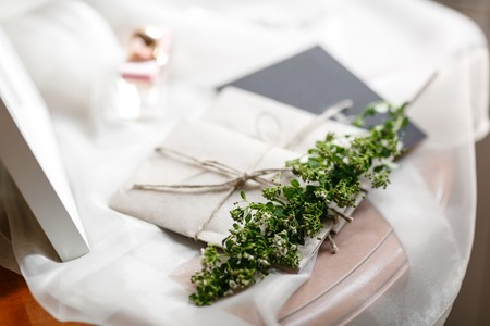 Wedding morning. Bridal details. close up view womans accessories. Stock Photo