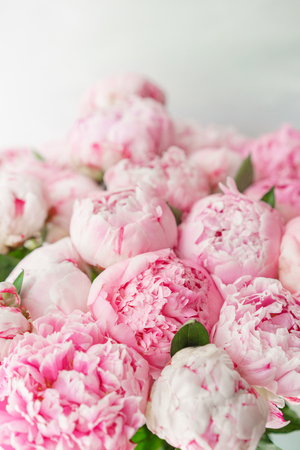 pink peonies . Floral composition, daylight. Wallpaper. Lovely flowers in glass vase. Beautiful bouquet Stock fotó