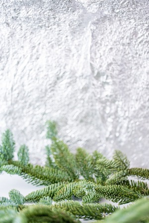 Holiday background banner with bokeh in the background spruce branch in the foreground and copy space