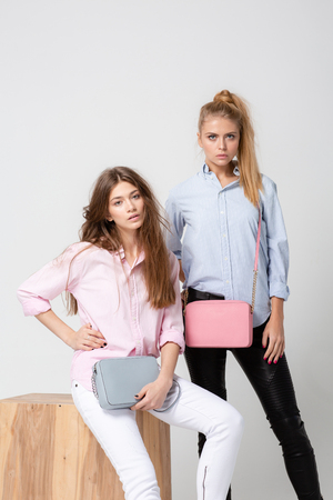 happy girlfriends women in shirts with stylish handbags. Fashion spring image of two sisters. Pastel pink and blue colors clothes. Models with Blonde and light brown hair.