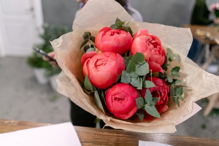 Coral peonies in womans hands. Beautiful peony flower for catalog or online store. Floral shop concept . Beautiful fresh cut bouquet. Flowers delivery