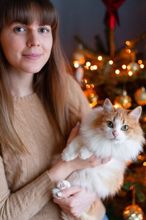 Pretty girl embraces fluffy red and white cat on Christmas tree background. Decorating Natural Danish spruce at home. Winter holidays in a house interior. Light garlands.