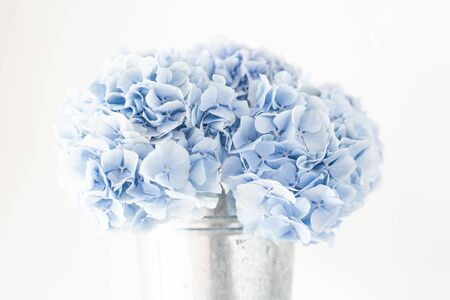 beautiful hydrangea flowers in a vase on a table . Bouquet of light blue. Decoration of home. Wallpaper and background.