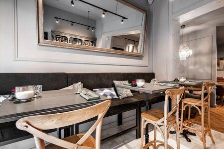 Spain, Barcelona - October 22 2019. Restaurant Vinogrado. Restaurant and bar interior. Modern european small cozy restaurant