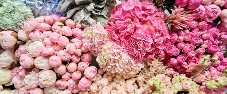 Floral carpet or Wallpaper. Background of mix of flowers. Beautiful flowers for catalog or online store. Floral shop and delivery concept. Top view. Copy space Standard-Bild - 149897888