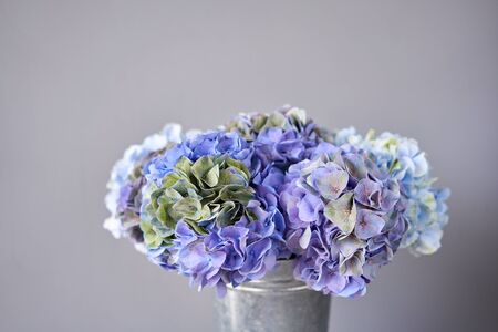 Beautiful blue hydrangea flowers in a vase on a table . Bouquet of light pink flower. Decoration of home. Wallpaper and background.
