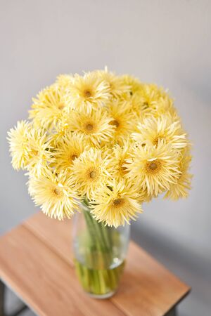 Beautiful flower composition. Sunny yellow gerbera flower heads in glass vase. Floristry concept. Spring colors Standard-Bild - 150162532