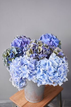Beautiful blue hydrangea flowers in a vase on a table . Bouquet of light pink flower. Decoration of home. Wallpaper and background. Standard-Bild - 150497071