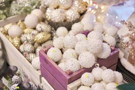 Market of decor . Lots of christmas decoration in store. Christmas shopping for new year tree.