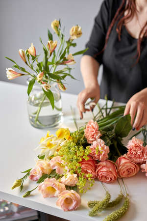 Bouquet 005, step by step installation of flowers in a vase. Flowers bunch, set for home. Fresh cut flowers for decoration home. European floral shop. Delivery fresh cut flower.